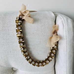 J Crew statement necklace with ribbon tie